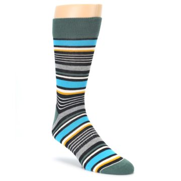 Green Grey Black Stripes Mens Dress Socks PACT