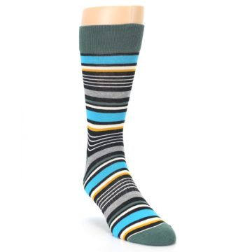 Image of Green Grey Black Stripes Men's Dress Socks (side-1-front-02)