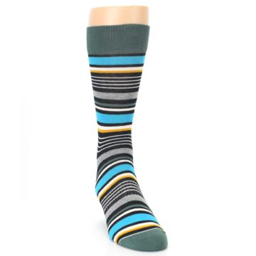 Image of Green Grey Black Stripes Men's Dress Socks (side-1-front-03)