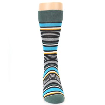 Image of Green Grey Black Stripes Men's Dress Socks (front-04)