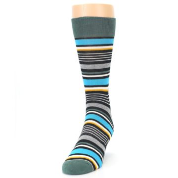 Image of Green Grey Black Stripes Men's Dress Socks (side-2-front-06)