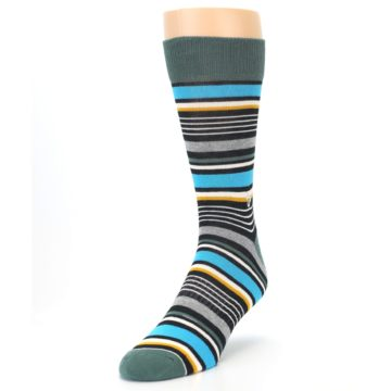Image of Green Grey Black Stripes Men's Dress Socks (side-2-front-07)