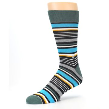 Image of Green Grey Black Stripes Men's Dress Socks (side-2-09)