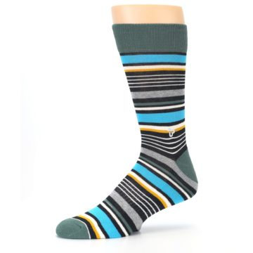 Image of Green Grey Black Stripes Men's Dress Socks (side-2-10)
