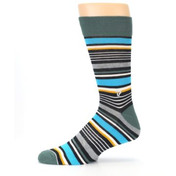 Image of Green Grey Black Stripes Men's Dress Socks (side-2-11)
