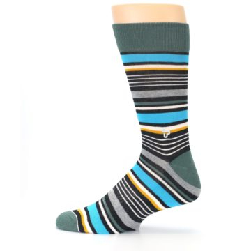 Image of Green Grey Black Stripes Men's Dress Socks (side-2-12)
