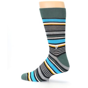Image of Green Grey Black Stripes Men's Dress Socks (side-2-13)