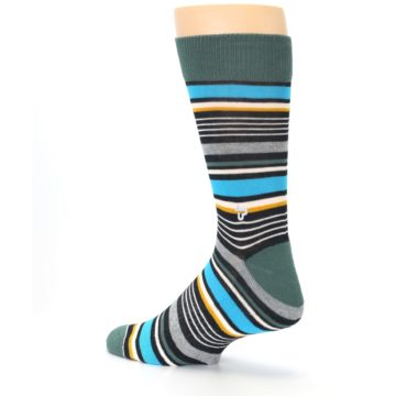 Image of Green Grey Black Stripes Men's Dress Socks (side-2-back-14)