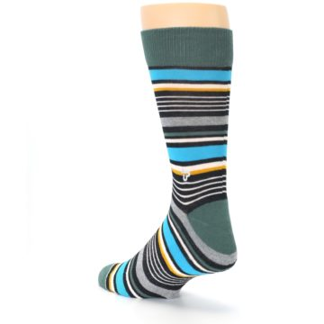 Image of Green Grey Black Stripes Men's Dress Socks (side-2-back-15)