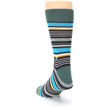 Image of Green Grey Black Stripes Men's Dress Socks (side-2-back-16)