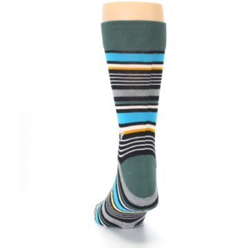 Image of Green Grey Black Stripes Men's Dress Socks (back-17)