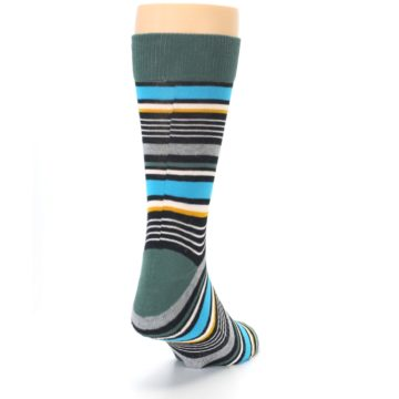 Image of Green Grey Black Stripes Men's Dress Socks (side-1-back-20)