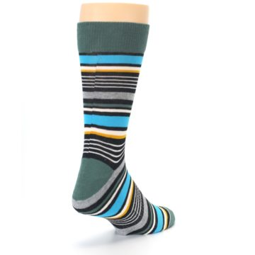 Image of Green Grey Black Stripes Men's Dress Socks (side-1-back-21)