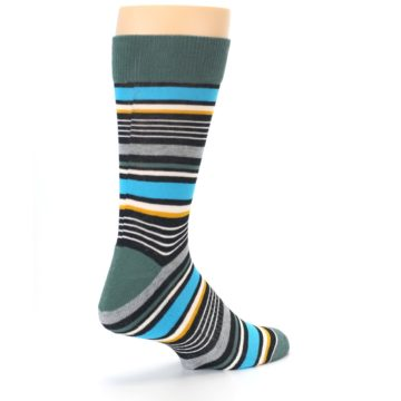 Image of Green Grey Black Stripes Men's Dress Socks (side-1-back-22)