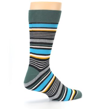 Image of Green Grey Black Stripes Men's Dress Socks (side-1-23)