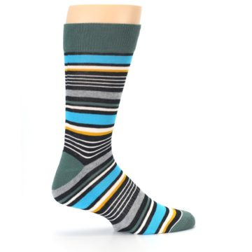 Image of Green Grey Black Stripes Men's Dress Socks (side-1-24)