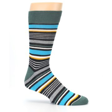 Image of Green Grey Black Stripes Men's Dress Socks (side-1-25)