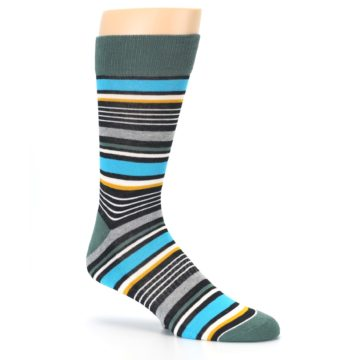 Image of Green Grey Black Stripes Men's Dress Socks (side-1-26)