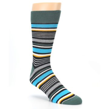 Image of Green Grey Black Stripes Men's Dress Socks (side-1-27)