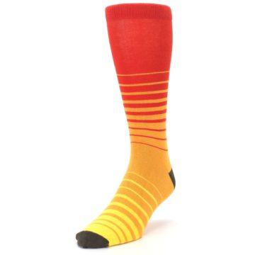 Image of Orange Yellow Sunset Stripe XL Men's Dress Socks (side-2-front-07)