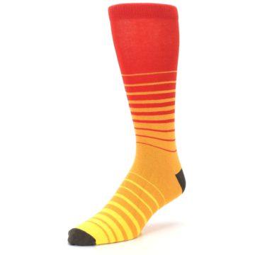 Image of Orange Yellow Sunset Stripe XL Men's Dress Socks (side-2-front-08)
