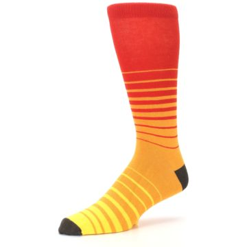 Image of Orange Yellow Sunset Stripe XL Men's Dress Socks (side-2-09)
