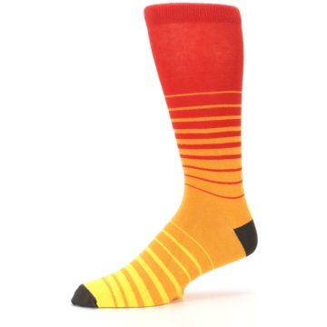 Image of Orange Yellow Sunset Stripe XL Men's Dress Socks (side-2-10)