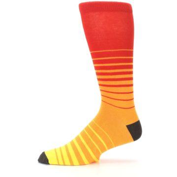 Image of Orange Yellow Sunset Stripe XL Men's Dress Socks (side-2-11)