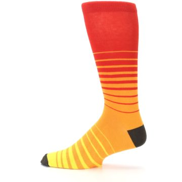 Image of Orange Yellow Sunset Stripe XL Men's Dress Socks (side-2-12)