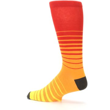 Image of Orange Yellow Sunset Stripe XL Men's Dress Socks (side-2-13)