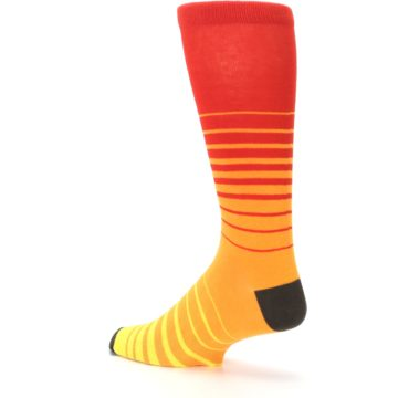 Image of Orange Yellow Sunset Stripe XL Men's Dress Socks (side-2-back-14)