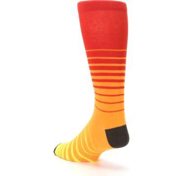Image of Orange Yellow Sunset Stripe XL Men's Dress Socks (side-2-back-15)