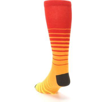 Image of Orange Yellow Sunset Stripe XL Men's Dress Socks (side-2-back-16)