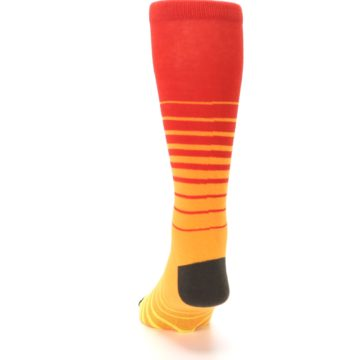 Image of Orange Yellow Sunset Stripe XL Men's Dress Socks (back-17)
