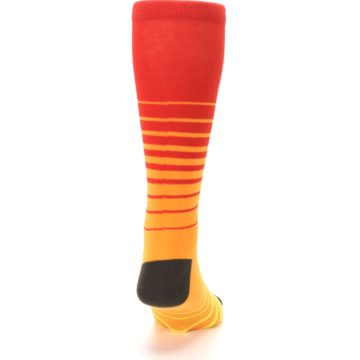Image of Orange Yellow Sunset Stripe XL Men's Dress Socks (back-19)