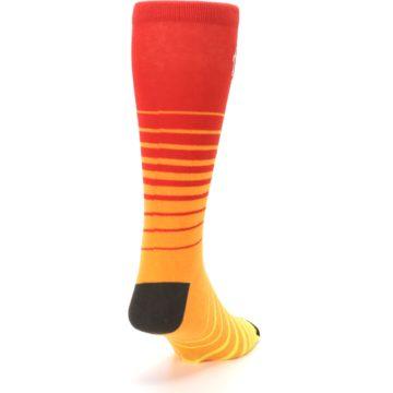 Image of Orange Yellow Sunset Stripe XL Men's Dress Socks (side-1-back-20)