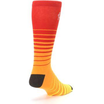 Image of Orange Yellow Sunset Stripe XL Men's Dress Socks (side-1-back-21)