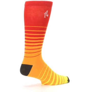 Image of Orange Yellow Sunset Stripe XL Men's Dress Socks (side-1-23)