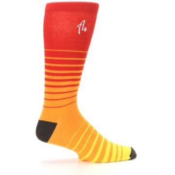 Image of Orange Yellow Sunset Stripe XL Men's Dress Socks (side-1-24)