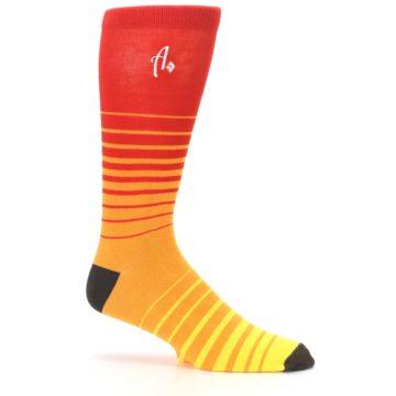 Image of Orange Yellow Sunset Stripe XL Men's Dress Socks (side-1-25)