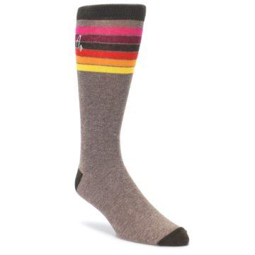 Brown Multi Stripe XL Mens Dress Socks Argoz
