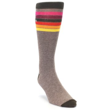 Image of Brown Multi Stripe XL Men's Dress Socks (side-1-front-02)
