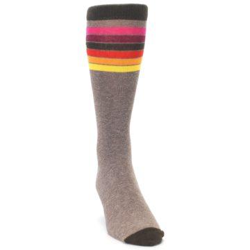 Image of Brown Multi Stripe XL Men's Dress Socks (side-1-front-03)