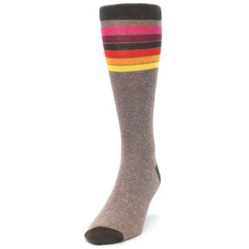 Image of Brown Multi Stripe XL Men's Dress Socks (side-2-front-06)