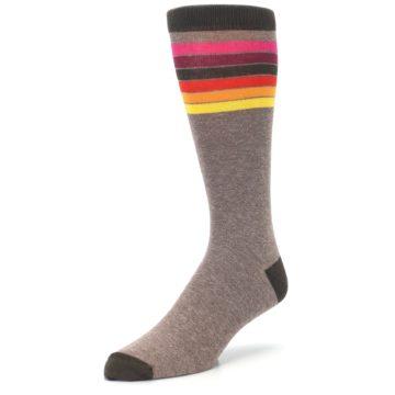Image of Brown Multi Stripe XL Men's Dress Socks (side-2-front-08)