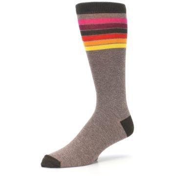 Image of Brown Multi Stripe XL Men's Dress Socks (side-2-09)