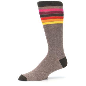 Image of Brown Multi Stripe XL Men's Dress Socks (side-2-10)
