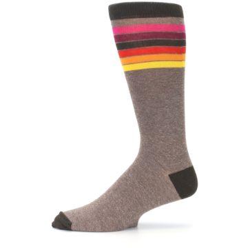 Image of Brown Multi Stripe XL Men's Dress Socks (side-2-11)