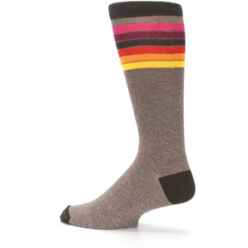 Image of Brown Multi Stripe XL Men's Dress Socks (side-2-13)