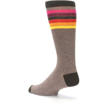 Image of Brown Multi Stripe XL Men's Dress Socks (side-2-back-14)